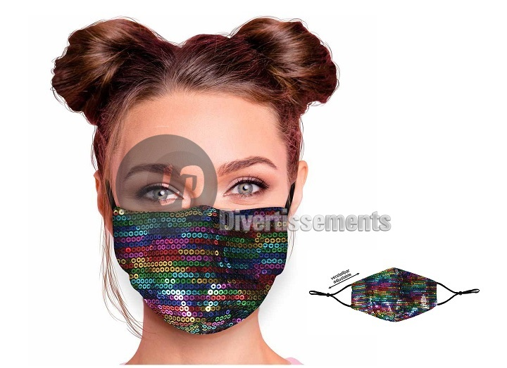 masque textile réglable motif sequins RAINBOW